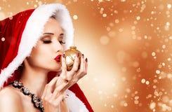 Красивейшая женщина рождества Стоковые Фотографии RF