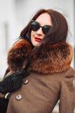 красивейшая женщина роскоши шерсти пальто Стильная женщина брюнет в коричневом пальто молодая сексуальная чувственная обольстител Стоковые Изображения RF