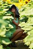 красивейшая женщина солнцецвета Стоковая Фотография