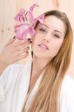 красивейшая женщина спы sauna Стоковая Фотография
