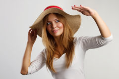 красивейшая женщина сторновки портрета шлема стоковое изображение rf
