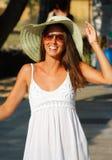 красивейшая женщина сторновки шлема Стоковая Фотография RF