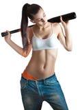 Красивейшая женщина брюнет с бейсбольной битой Стоковое Изображение RF
