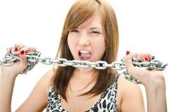 Красивейшая женщина с стальными сережками Стоковое Фото