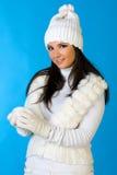 Красивейшая женщина с snowball. Стоковое Фото