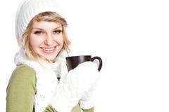 красивейшая женщина удерживания кофейной чашки Стоковое Изображение