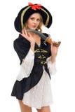 красивейшая женщина формы пирата costume масленицы Стоковое фото RF