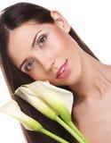 красивейшая женщина цветка calla стоковые фото