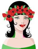 красивейшая женщина цветка wreathe иллюстрация штока