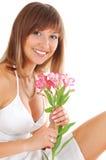красивейшая женщина цветков Стоковая Фотография