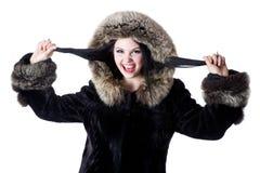 красивейшая женщина шерсти пальто Стоковые Фото