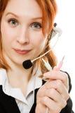 красивейшая женщина шлемофона дела Стоковые Фотографии RF