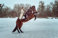 красивейшая женщина riding лошади Стоковые Изображения