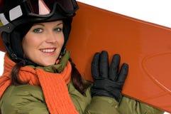 красивейшая женщина snowboard удерживания Стоковое Фото