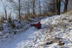 красивейшая зима дня Потеха, игры детей Стоковые Изображения RF