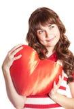 красивейшая игрушка сердца девушки брюнет Стоковое Фото