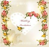Красивейшая карточка приглашения венчания с сердцем и розами шнурка иллюстрация штока