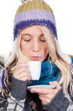 красивейшая кофейная чашка имея женщину Стоковые Фотографии RF