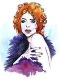 красивейшая красная женщина иллюстрация штока