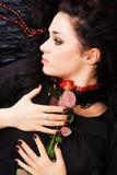 красивейшая красная романтичная розовая женщина Стоковые Изображения RF