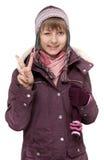 красивейшая куртка девушки к детенышам зимы Стоковое Изображение