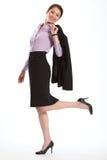 красивейшая куртка над женщиной плеча тонкий высокорослой Стоковые Изображения