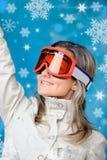 красивейшая лыжа девушки одежд Стоковая Фотография