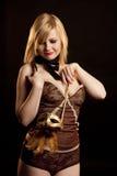 красивейшая маска золота девушки Стоковое Фото