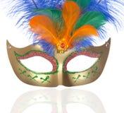 красивейшая масленица оперяется золотистая маска Стоковые Фотографии RF