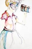 Красивейшая молодая женщина с маской масленицы Стоковая Фотография RF