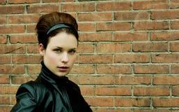 красивейшая модель кожи куртки Стоковое Изображение