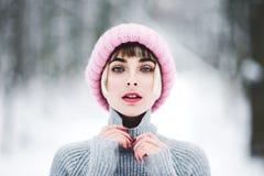 Красивейшая молодая женщина в пуще зимы Стоковые Изображения