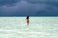 красивейшая наслаждаясь женщина океана Стоковая Фотография RF