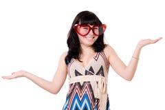 красивейшая носящий очки девушка веселая стоковое фото