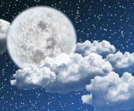 красивейшая ноча луны иллюстрация вектора