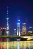 Красивейшая ноча shanghai стоковые фотографии rf