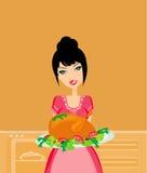 красивейшая официантка сервировки цыпленка Стоковые Изображения