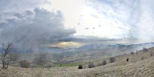 красивейшая панорама горы ландшафта Стоковая Фотография RF
