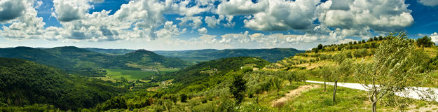 красивейшая панорама motovun холмов Стоковая Фотография RF