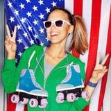 Красивейшая патриотическая девушка Стоковое Изображение RF