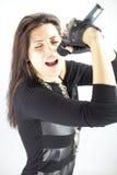 Красивейшая певица утеса женщины Стоковая Фотография
