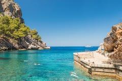 Красивейшая плаща-накидк Formentor лагуны пляжа стоковое изображение