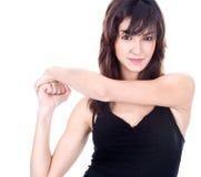 красивейшая повелительница рук показывая знак Стоковое Фото