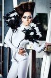 Красивейшая повелительница с маловероятные hairdress стоковое изображение
