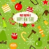 Красивейшая поздравительная открытка с Рождеством Христовым Иллюстрация вектора
