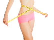 красивейшая потеря принципиальной схемы живота над женщиной веса белой стоковые изображения rf
