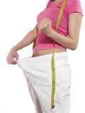 красивейшая потеря принципиальной схемы живота над женщиной веса белой Стоковые Изображения