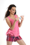 красивейшая пустая голубая девушка карточки подростковая Стоковое фото RF