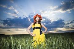 красивейшая пшеница девушки поля Стоковые Фото