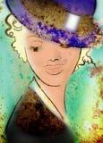 Красивейшая ретро маленькая девочка grunge в голубом конце шлема вверх иллюстрация штока